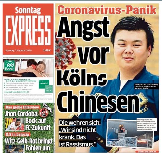 Cover Sonntag EXPRESS, asiatisch gelesener Mann, Titel: Corona-Virus-Panik, Angst vor Kölns Chinesen,