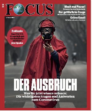 FOCUS-Print-Cover, Person im roten Mantel und Atemmaske, Titel: Der Ausbruch