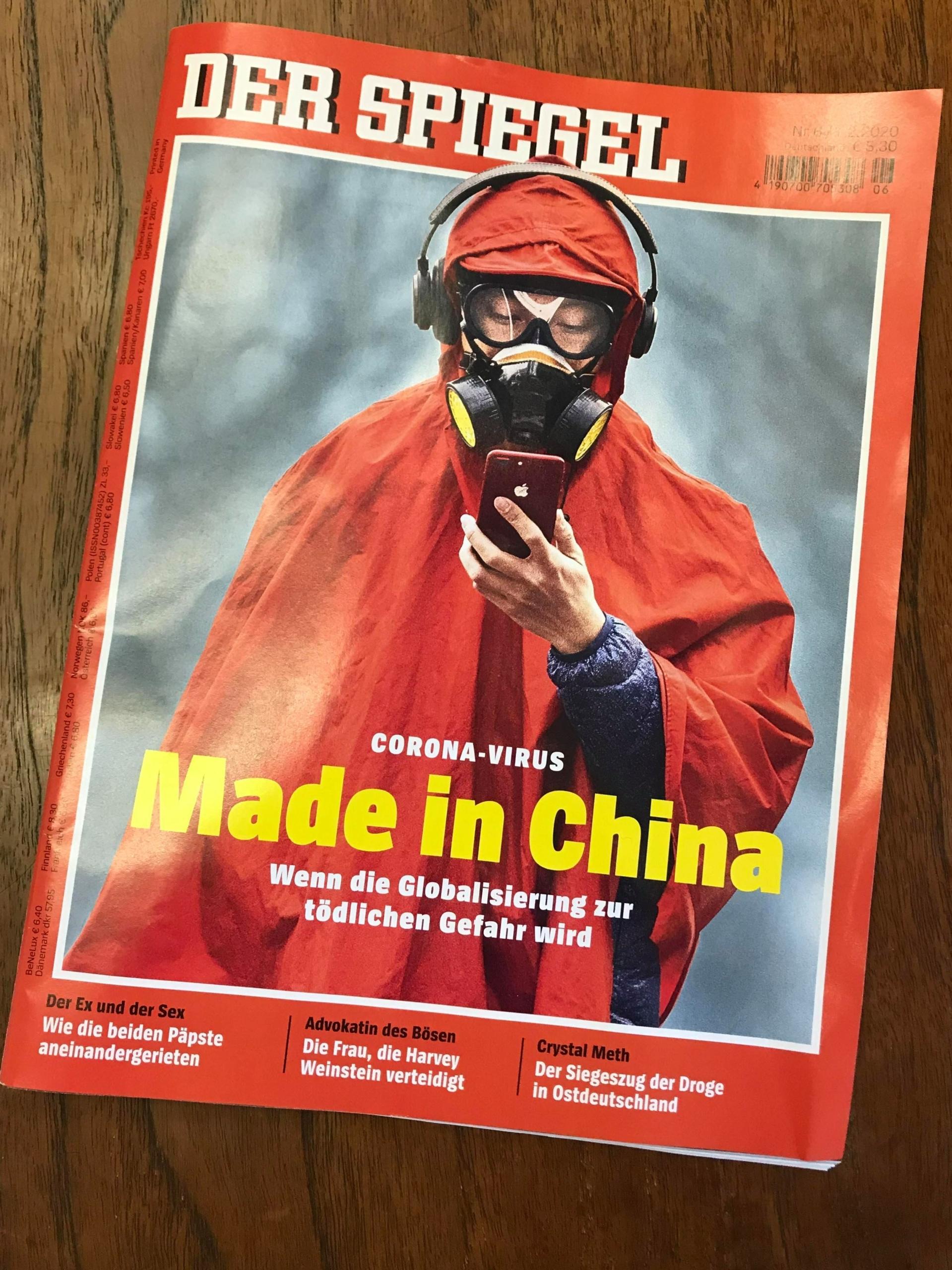 SPIEGEL-Cover, Mann im roten Mantel, Überschrift: Made in China